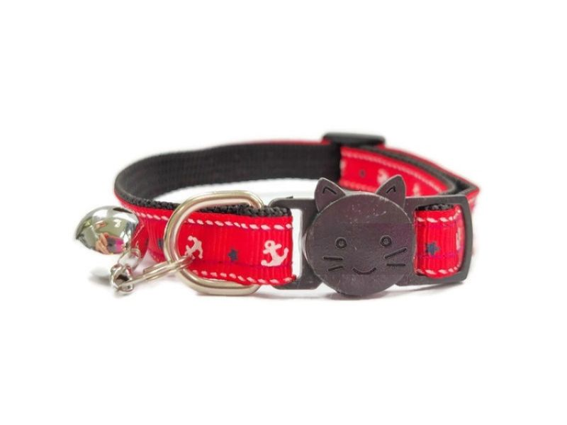 Red Anchor Print Cat Collar