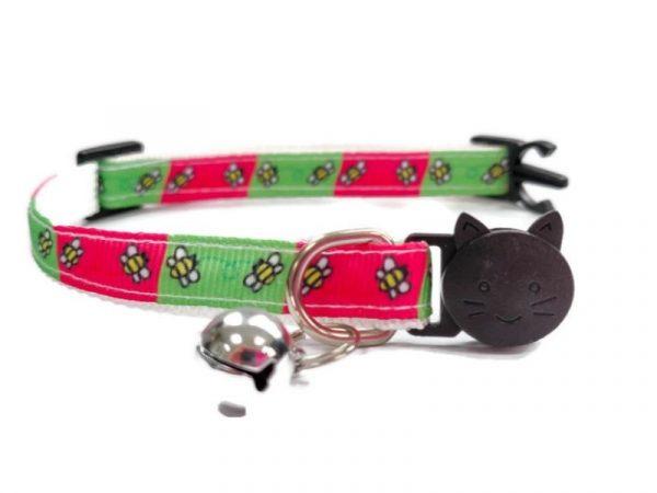 Green & Pink Bee Design Kitten Collar