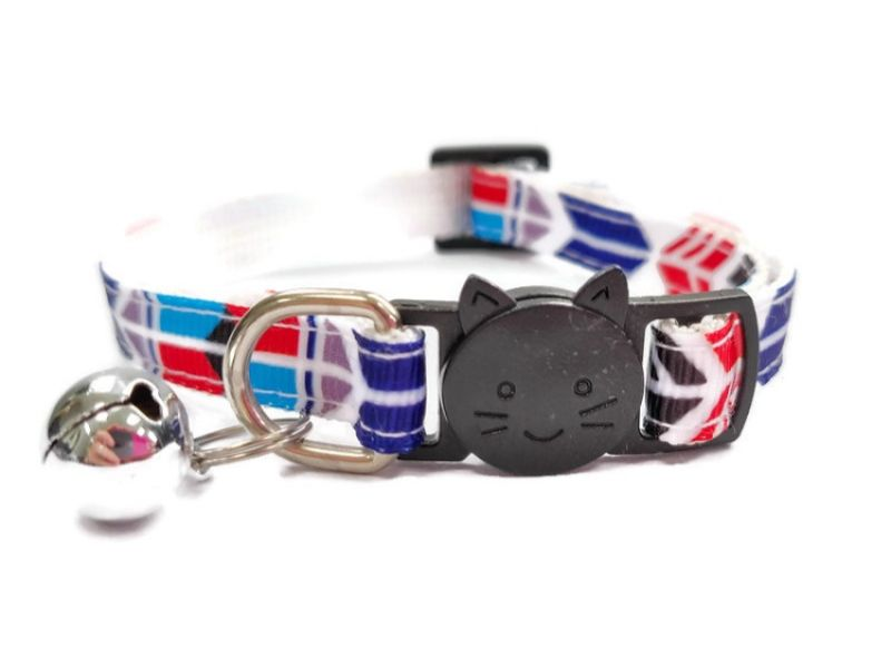 Blue/Red/Black Block Style Cat Collar