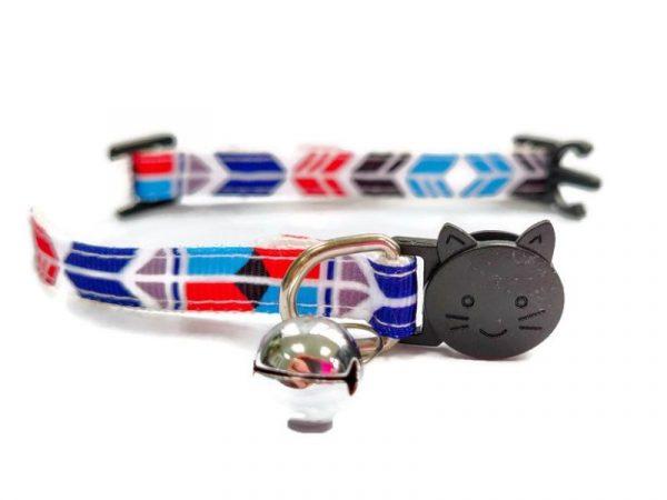 Blue/Red/Black Block Style Kitten Collar