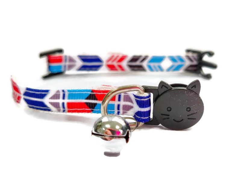 Blue, Red, Black Block Style Cat Collar