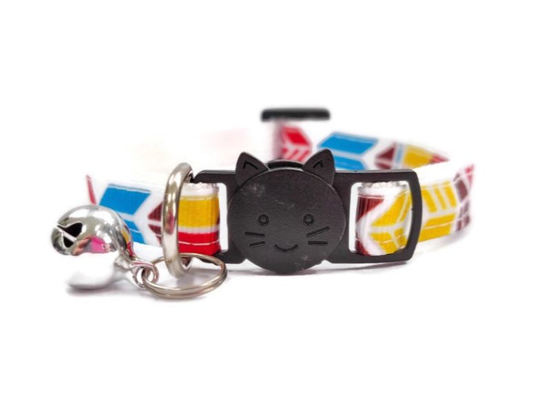 Blue, Red, Yellow Block Style Cat Collar