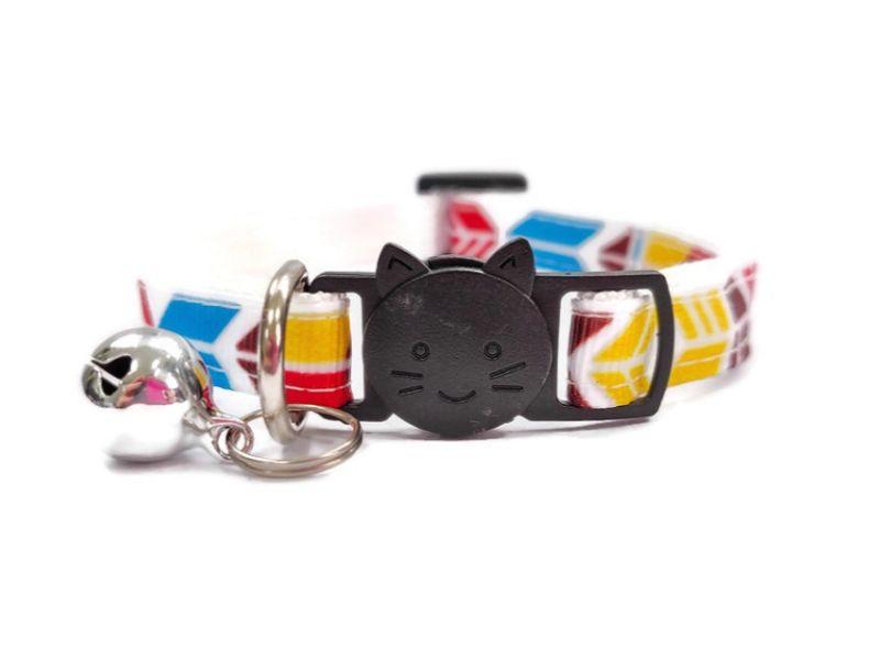 Blue, Red, Yellow Block Style Cat Collar