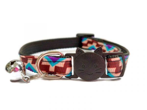 Brown & Beige Block Style Cat Collar