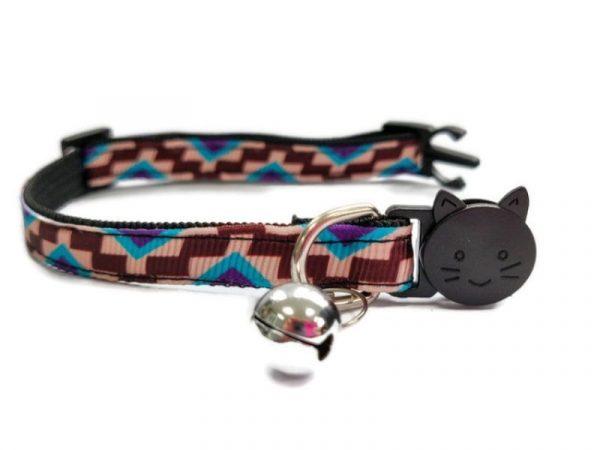 Brown & Beige Block Style Kitten Collar
