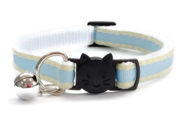 Light Blue with Yellow Edges Cat Collar