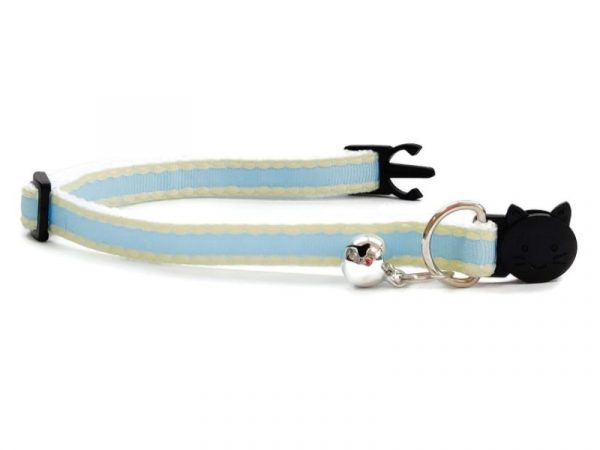 Light Blue with Yellow Edges Kitten Collar