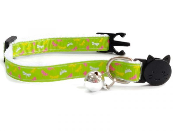 Green with Butterfly Print Kitten Collar