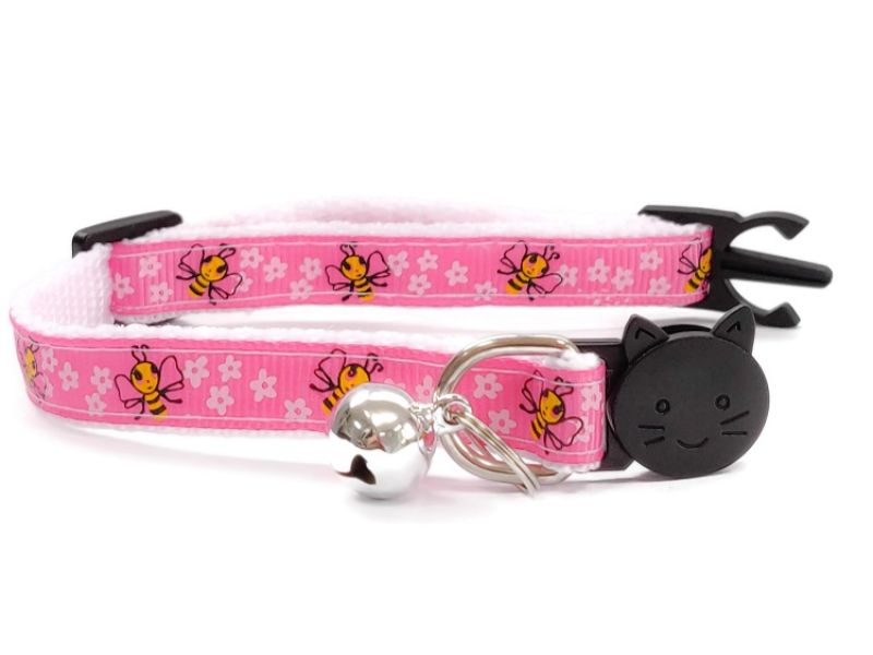 Pink Bee Design Cat Collar
