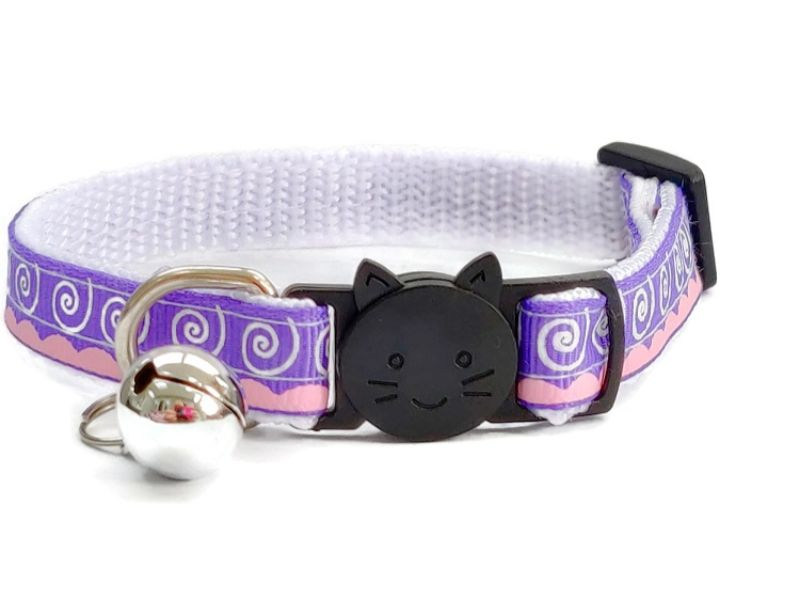 Purple & White Swirl Design Cat Collar