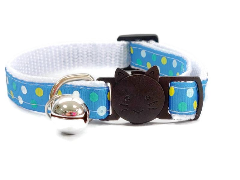 Turquoise Polka Dot Cat Collar