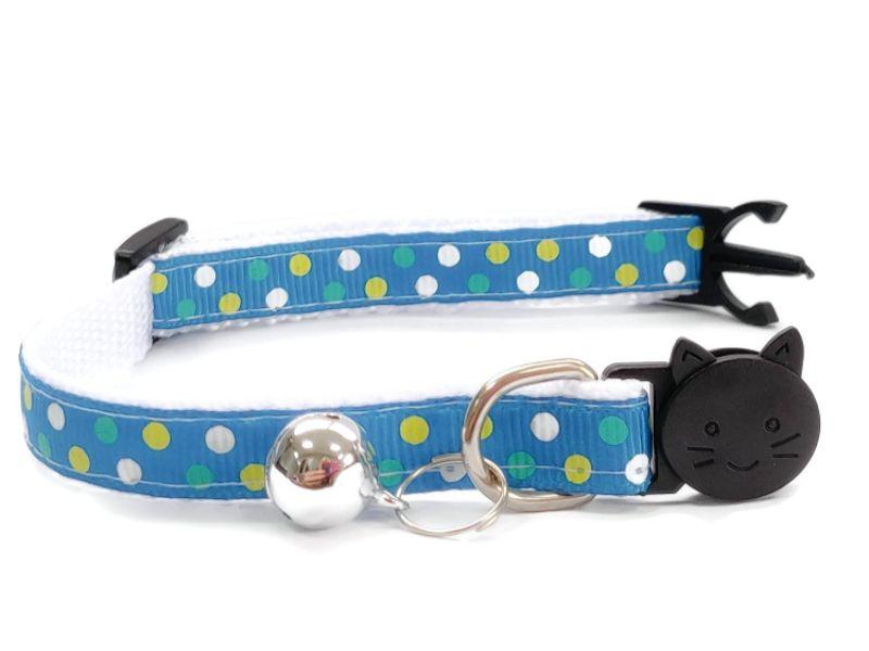 Turquoise Polka Dot Kitten Collar