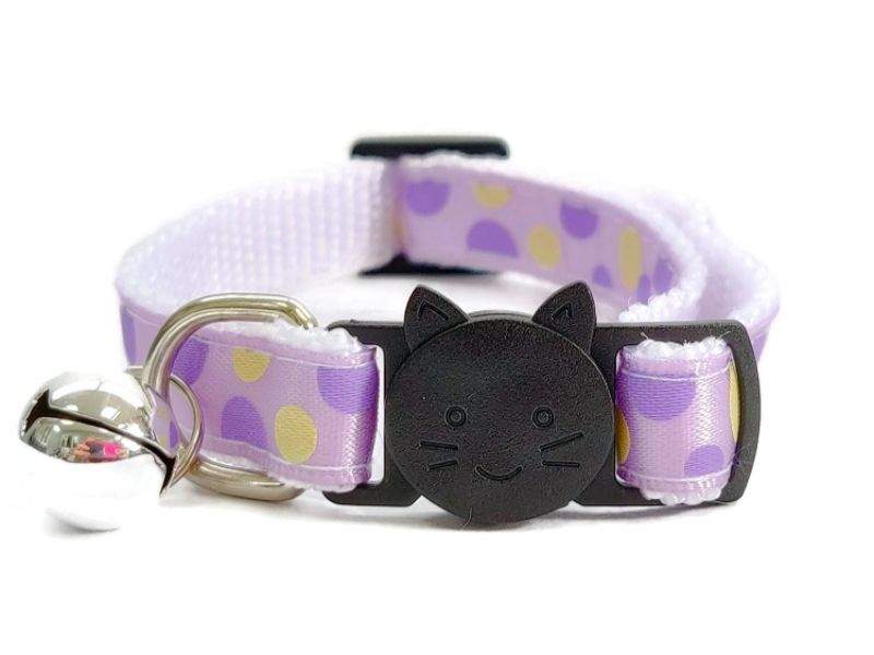 Lilac Polka Dot Cat Collar