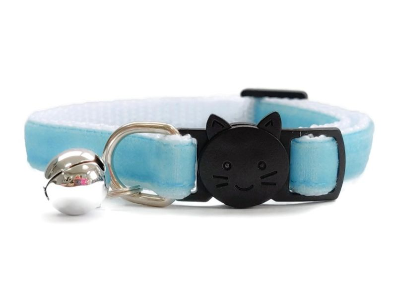 Baby Blue Velvet Cat Collar (Single Sided Velvet)