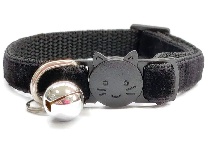 Black Velvet Cat Collar (Single Sided Velvet)