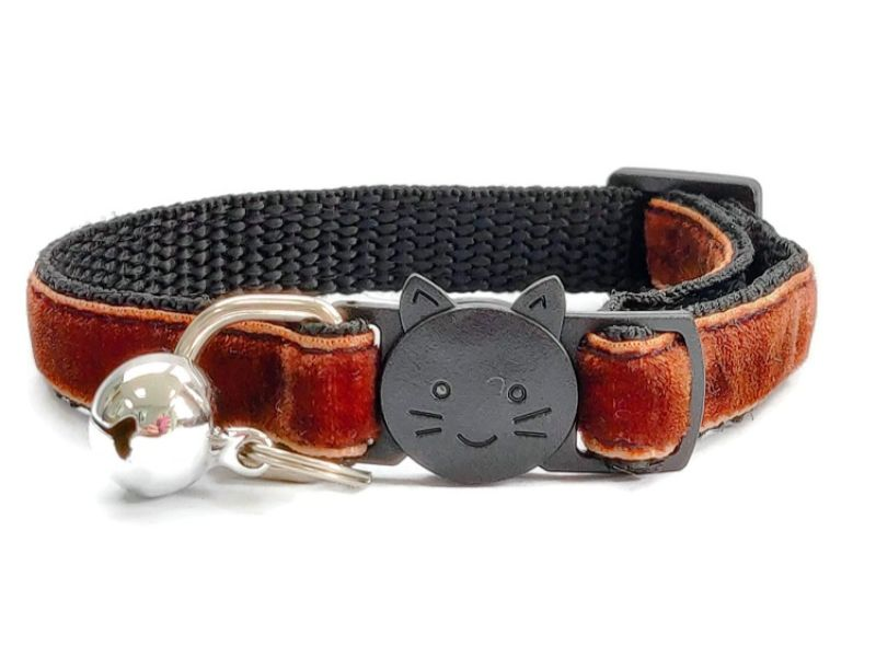 Brown Velvet Cat Collar (Single Sided Velvet)