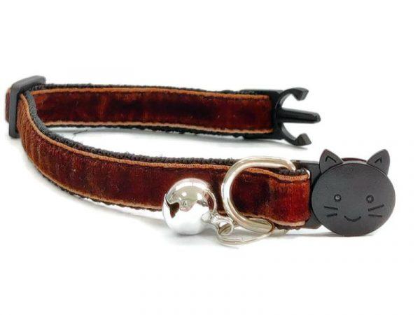 Brown Velvet Kitten Collar