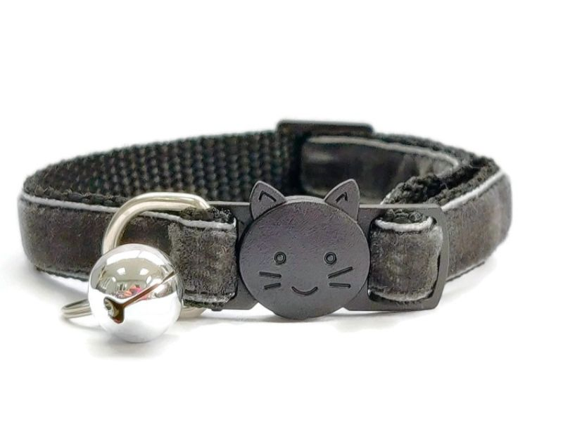 Dark Grey Velvet Cat Collar (Single Sided Velvet)