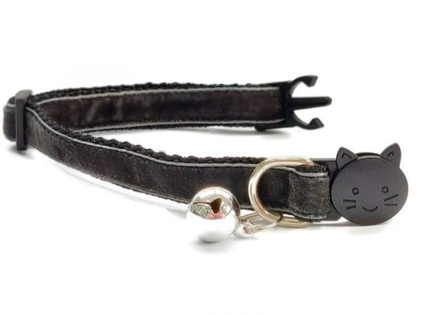 Dark Grey Velvet Kitten Collar