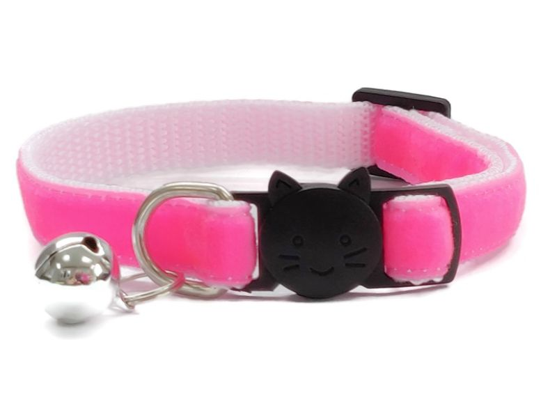 Neon Pink Velvet Cat Collar (Single Sided Velvet)