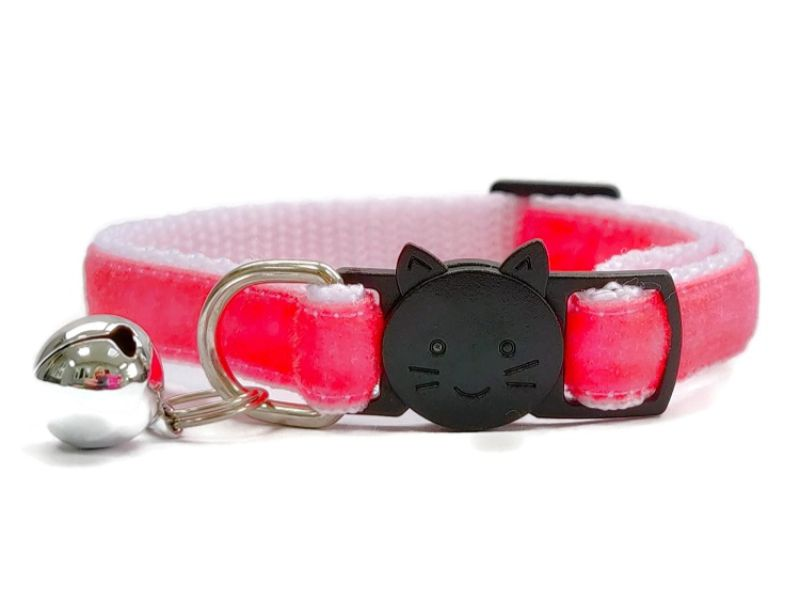 Fuchsia Pink Velvet Cat Collar (Single Sided Velvet)