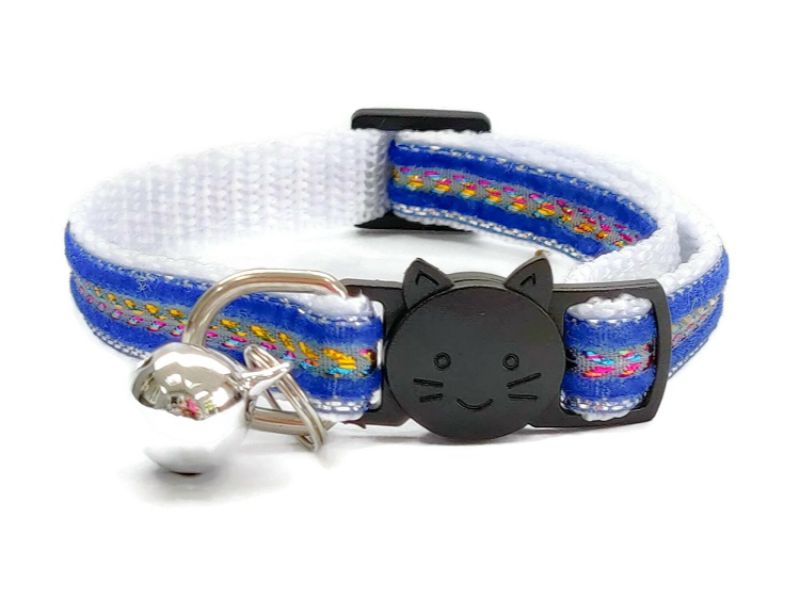 Blue with Glitter Velvet Cat Collar (Single Sided Velve...