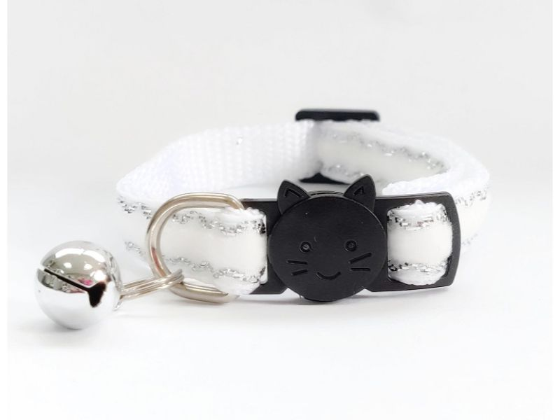 White with Glitter Velvet Cat Collar (Single Sided Velv...