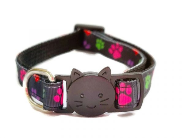 Multi Colour Small Paw Print Cat Collar