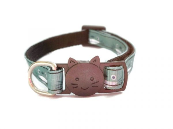 Green Cat Face Design Cat Collar
