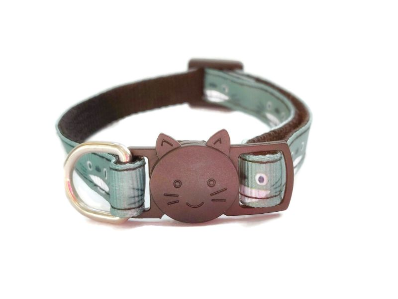 Green Cat Face Design Cat Collar