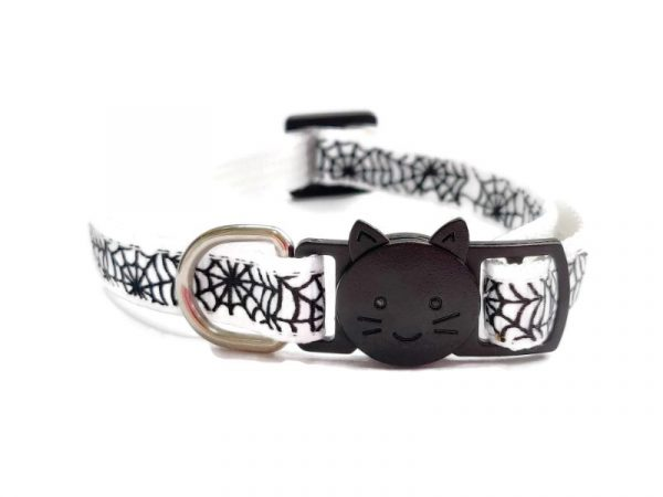 Halloween Cat Collar – White Spiderweb Print