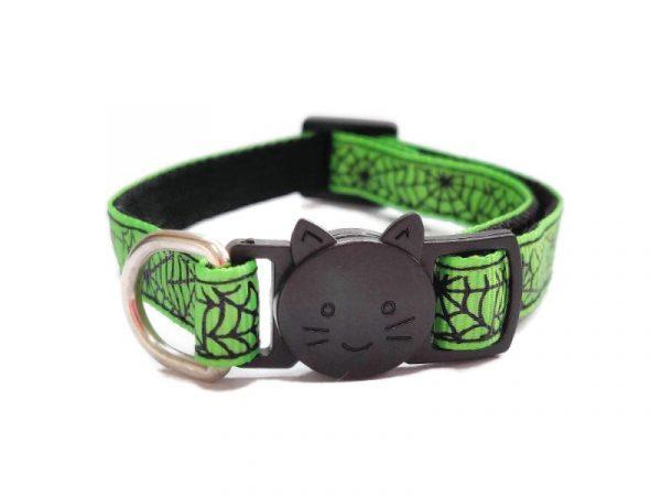 Halloween Cat Collar – Green Spiderweb Print