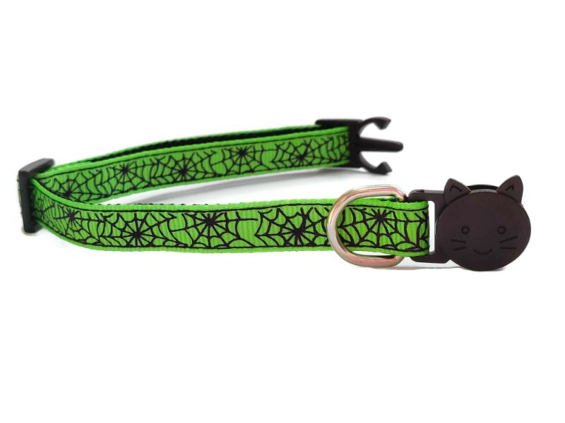 Halloween Cat Collars – Green Spiderweb Print