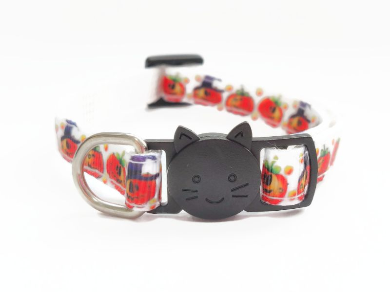 Halloween Cat Collars – White Pumpkin Print
