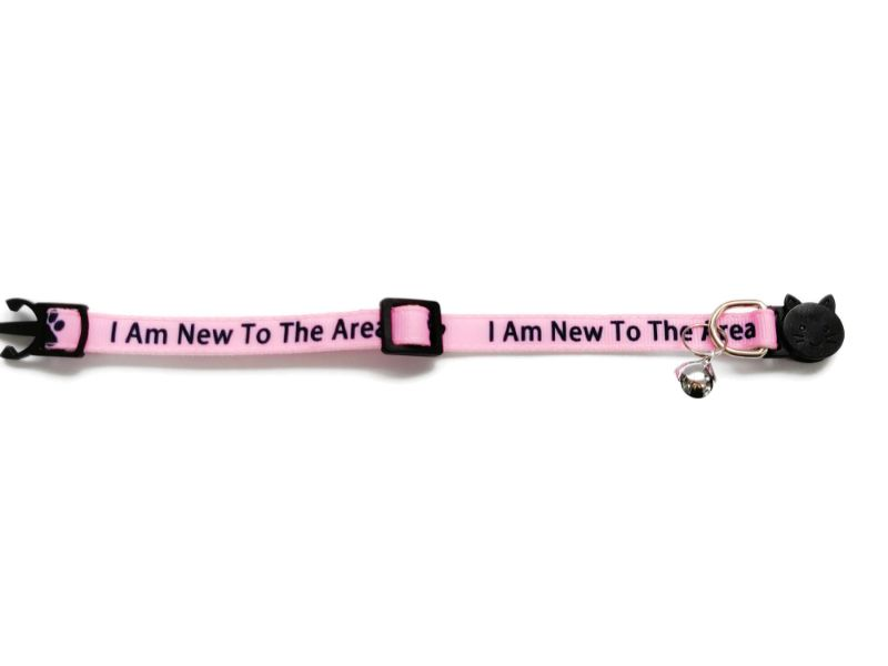 'I Am New To The Area' (Pink) Cat Collar1