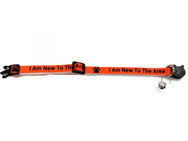 'I Am New To The Area' (Orange) Cat Collar1
