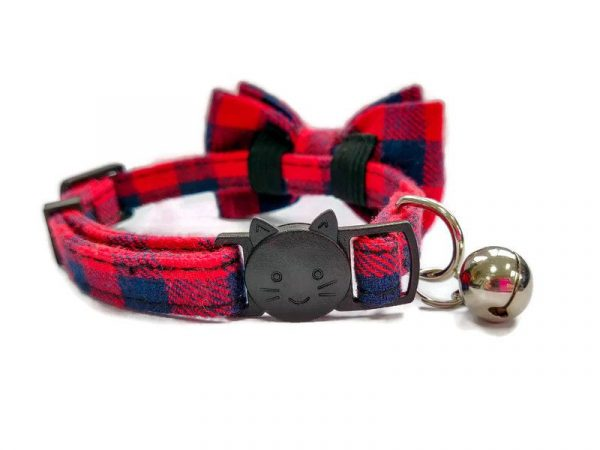 Luxury Cat Collar – Red and Navy Blue Chequered2