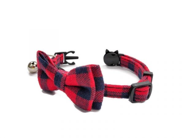 Luxury Cat Collar – Red and Navy Blue Chequered1