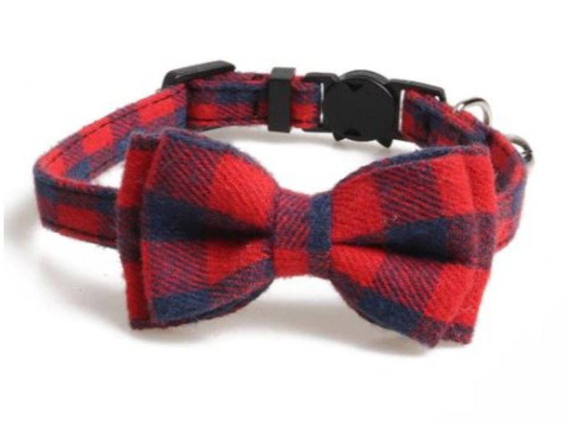Luxury Cat Collar – Red and Navy Blue Chequered