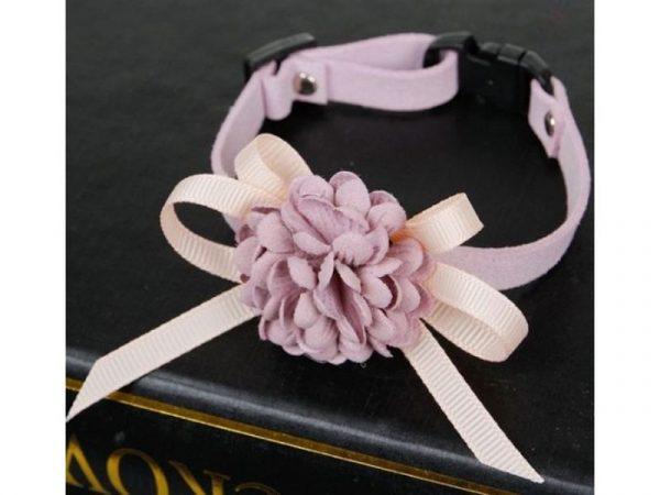 Luxury Cat Collar – Soft Velvet with Flower (Dusty Rose)