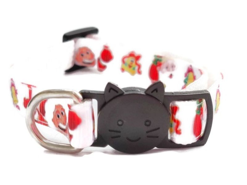 Christmas Cat Collars – White with Santa Print
