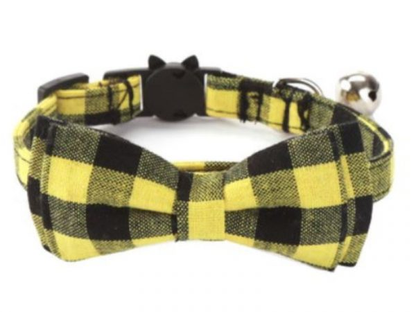 Luxury Cat Collar – Yellow & Black Chequered