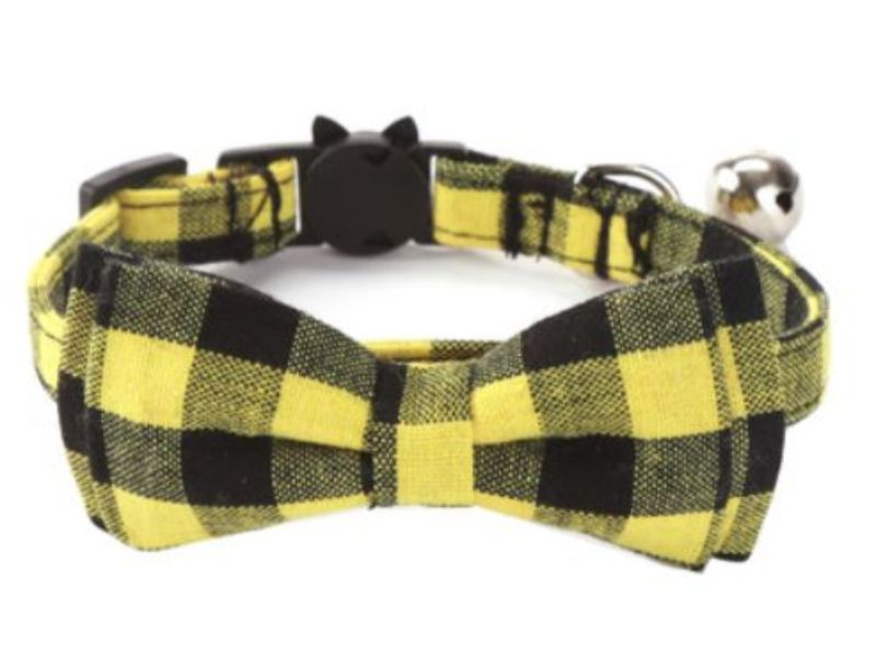 Luxury Yellow & Black Chequered Cat Collar
