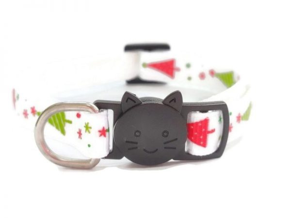 Christmas Cat Collar – White with Christmas Tree Print