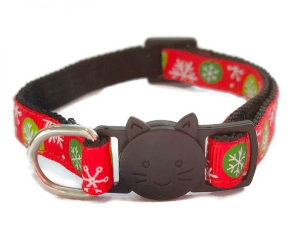 Christmas Cat Collar – Red with Snowflake Print