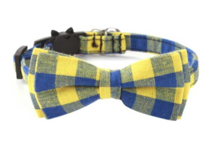 Luxury Yellow & Blue Chequered Cat Collar