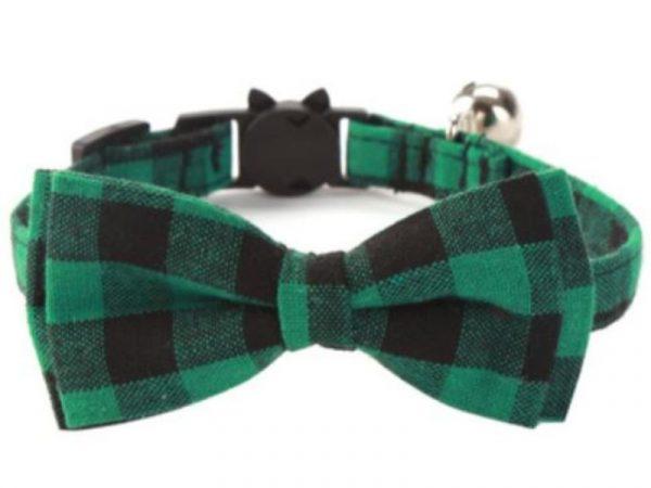 Luxury Cat Collar – Green & Black Chequered