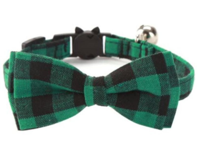 Luxury Green & Black Chequered Cat Collar