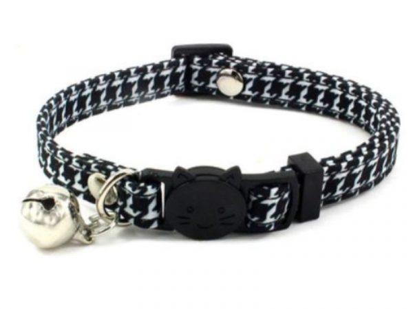 Luxury Cat Collar – Black & White Chequered