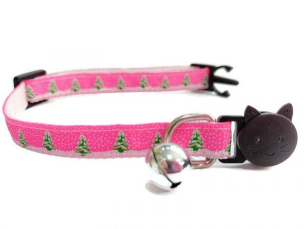 Christmas Kitten Collar – Pink with Christmas Trees & Snow